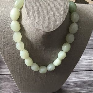 Jewelry - Pale green dyed jade necklace nugget beads